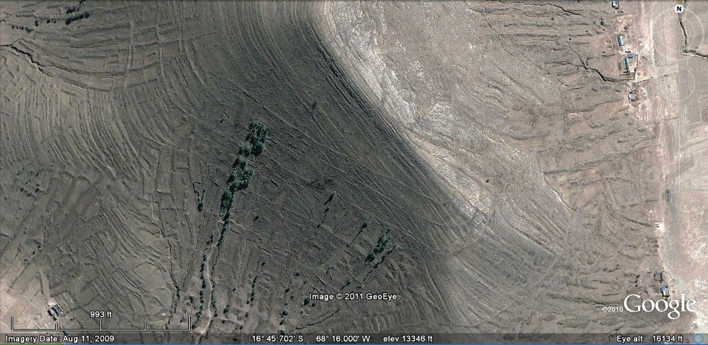 earthquaked ancient concentric irrigation channels bolivia