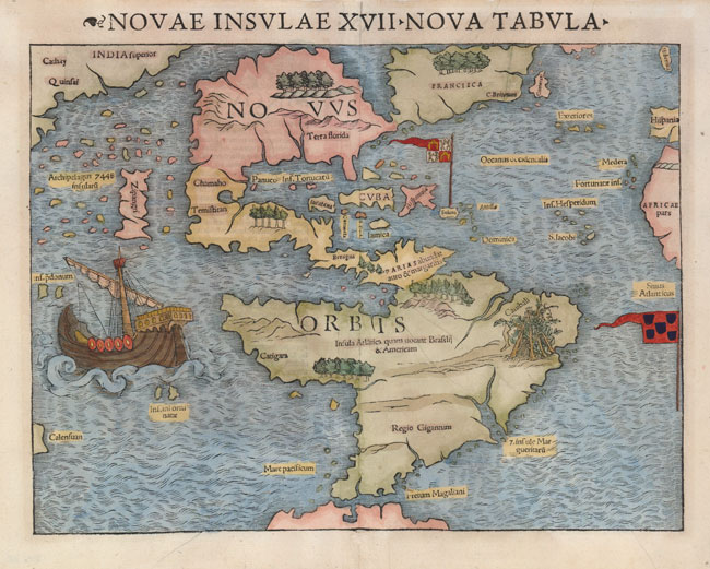 Atlantis bolvia part 3 legends and discovery of america sebastian munster map of atlantis insula 1540 gumiabroncs Image collections