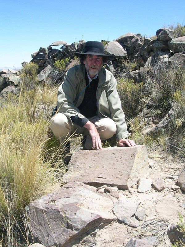 Jim Allen with white stone Pampa Aullagas