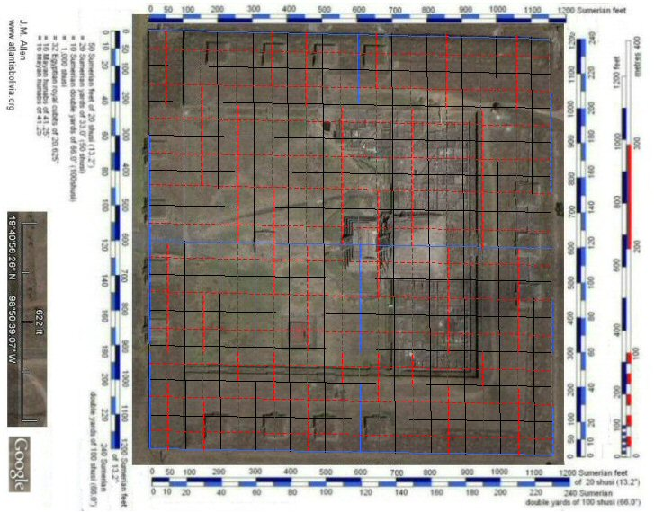 satellite photo of the citadel, Teotihuacan with grid at 50 Sumerian feet intervals