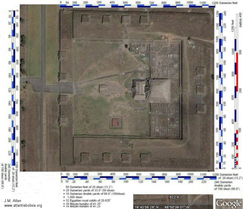 satellite photo of the citadel, Teotihuacan with scale bars