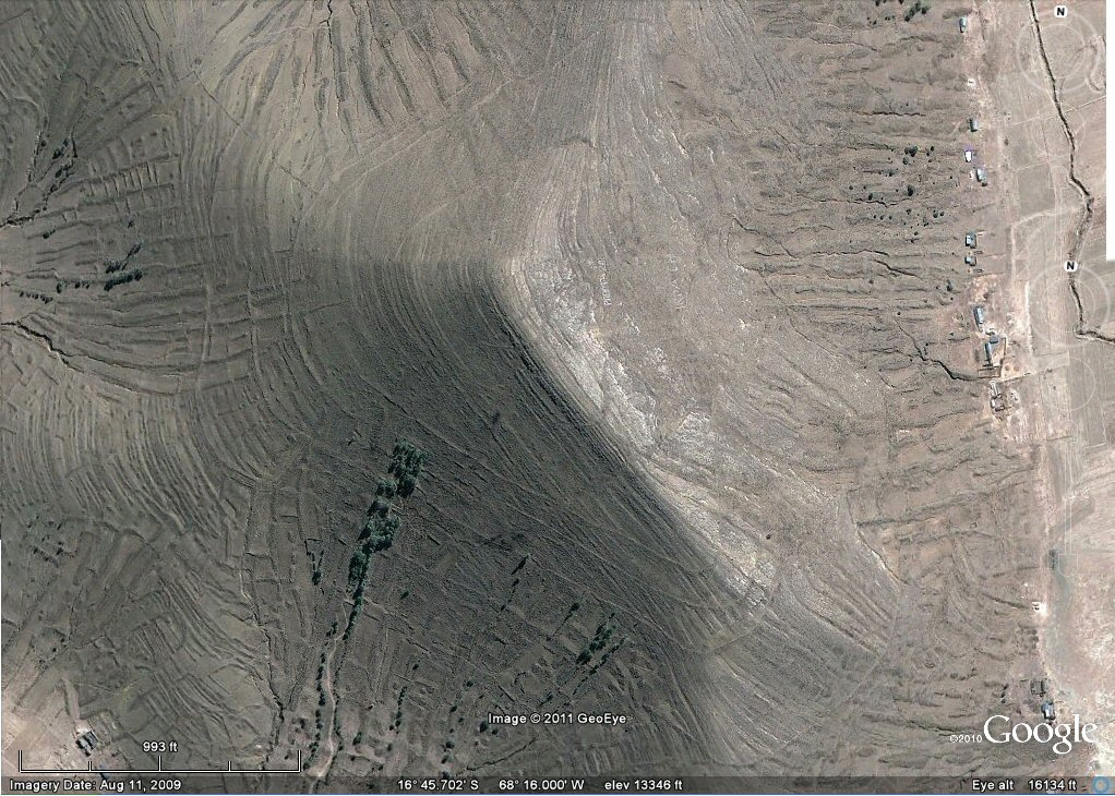 earthquake geoglyph agriculture west of la Paz area