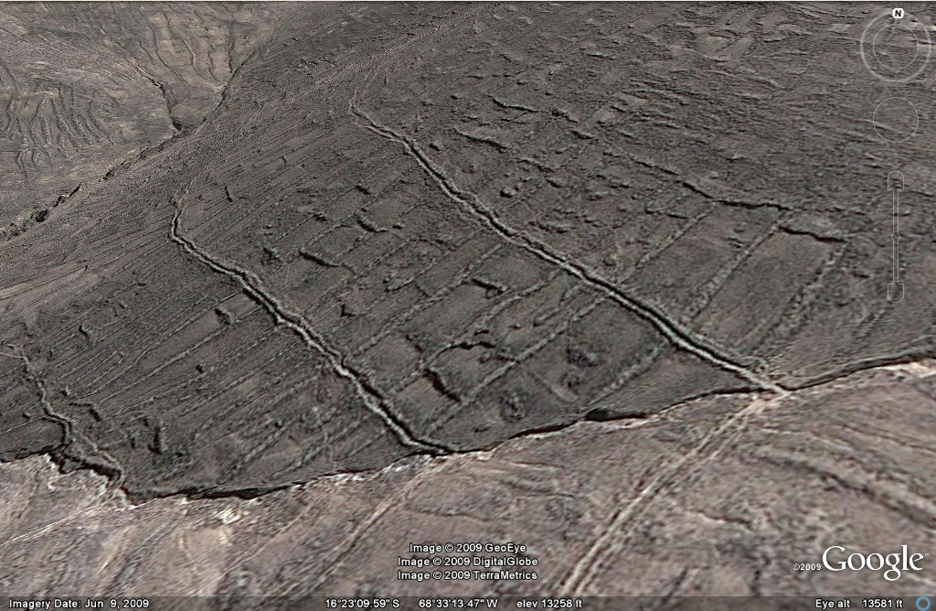 earthquake geoglyph agriculture fed by streams west of la Paz area