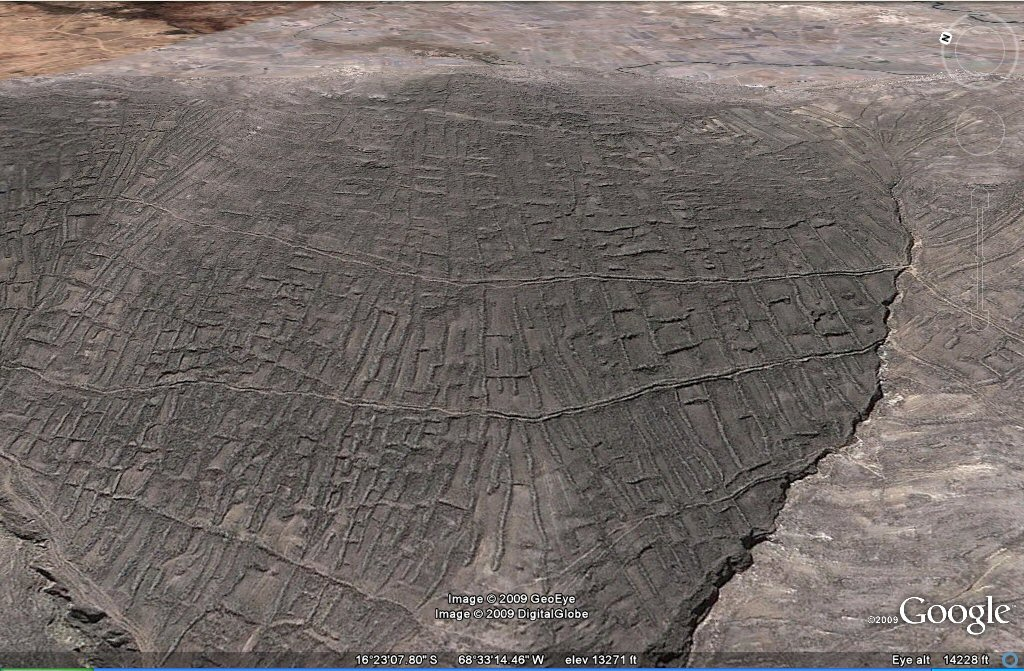 earthquake geoglyph agriculture fed by horizontal channels west of la Paz area