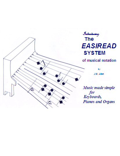 easiread system of musical notation for pianos and keyboards